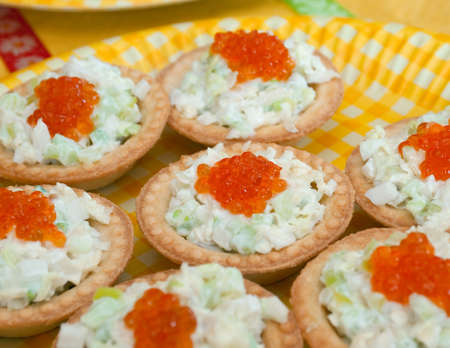 Tartlet with red caviar   . Shallow depth-of-field