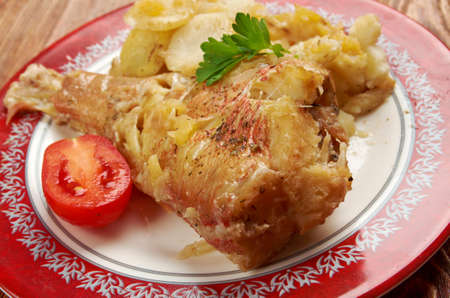 Baked red grouper with potato and  apple