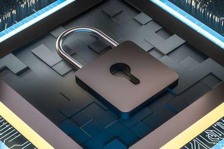 Photo pour 3d rendering, metal lock with digital concept background, computer digital background - image libre de droit