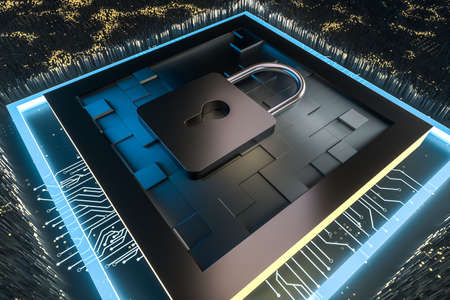 Photo pour 3d rendering, metal lock with digital concept background, computer digital background - image libre de droit