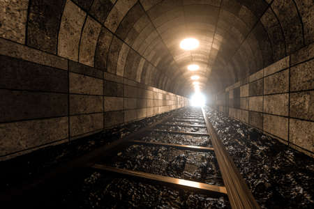 Photo pour The rail in the cave, Perspective background, A passage of mystery - image libre de droit