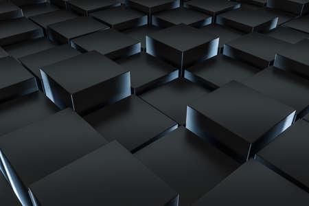 Photo pour 3d rendering, dark background, cube bricks with light effect. Computer digital background. - image libre de droit