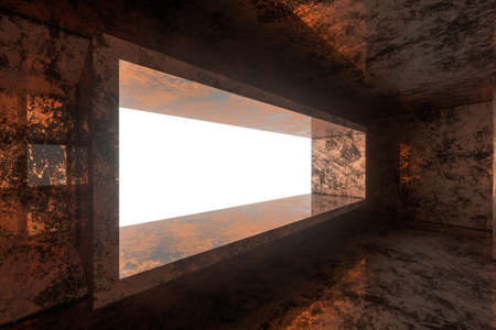 Photo pour Empty rusty room with light coming in from the window, 3d rendering. Computer digital background. - image libre de droit
