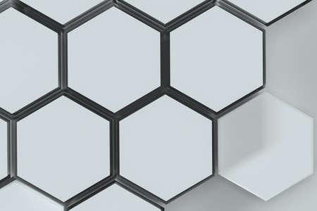 Foto de White hexagonal platforms connected together background, 3d rendering. Computer digital drawing. - Imagen libre de derechos