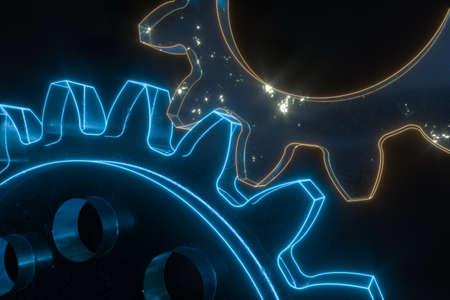 Photo pour Industrial gear,mechanical structure,3d rendering. Computer digital drawing. - image libre de droit