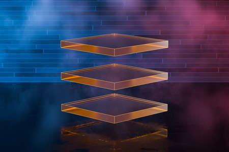Foto de Glowing geometric shape with brick background, 3d rendering. Computer digital drawing. - Imagen libre de derechos