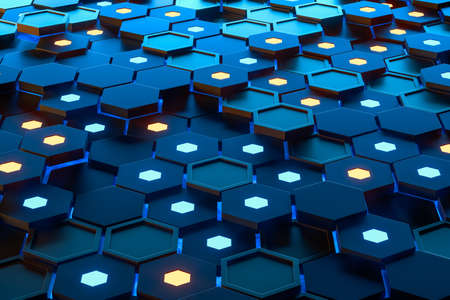 Foto de Glowing hexagonal cubes background, hi-tech cyberspace, 3d rendering. Computer digital drawing. - Imagen libre de derechos