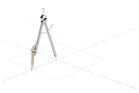 Photo pour Compasses drawing, unusual concept, 3d rendering. Computer digital drawing. - image libre de droit
