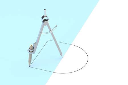 Photo pour Compasses drawing circle and square, unusual concept, 3d rendering. Computer digital drawing. - image libre de droit
