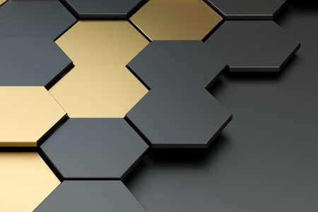 Foto de Dark and golden hexagon pattern background, 3d rendering. Computer digital drawing. - Imagen libre de derechos