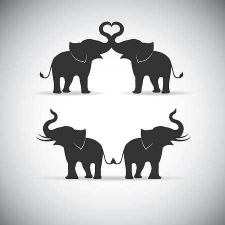 Illustration for Silhouette lovers an elephant - Royalty Free Image