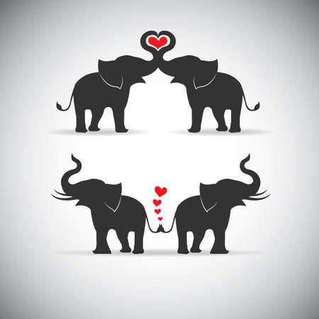 Ilustración de Silhouette lovers an elephant - Imagen libre de derechos