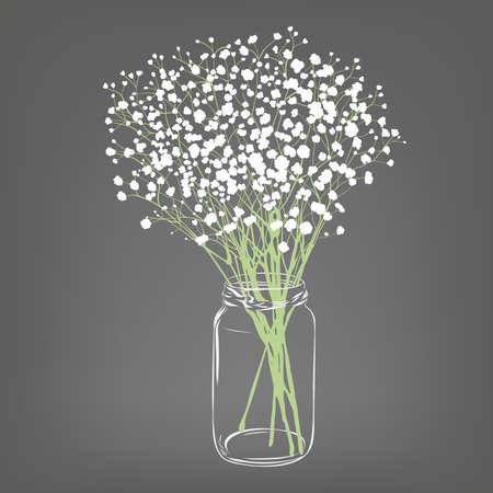 Ilustración de White flowers bouquet. Gypsophila flowers. Transparent clear glass jar. Grey background. Vector Illustration. - Imagen libre de derechos
