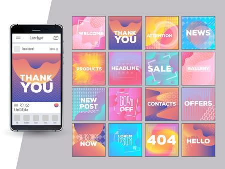 Illustration pour Social Network Mockup. Mobile App. Vibrant gradient vector GUI. Design template of corporate or private blog. Creative design concept for bloggers, designers, shop owners, entrepreneurs and businesses - image libre de droit