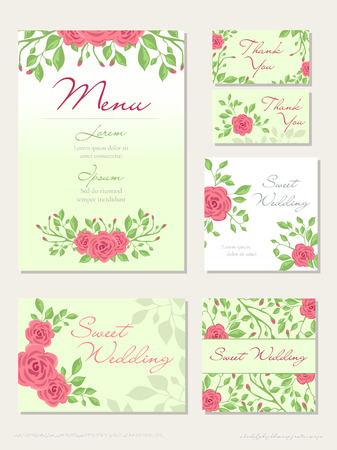 Illustration for Vector set of Wedding design concept with Invitation, menu, Rsvp, cute card, envelope, cover, poster. Floral wedding design concept with Rose flower, eucalyptus, romantic trendy greenery bouquet - Royalty Free Image
