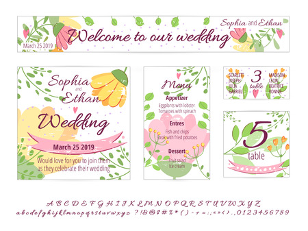Illustration pour Vector set of Happy Wedding design cards. Concept with wedding Invitation, gift card, menu, cover, poster, banner. Floral wedding design concept with hand drawn flowers, leaves, greenery. Wedding font - image libre de droit