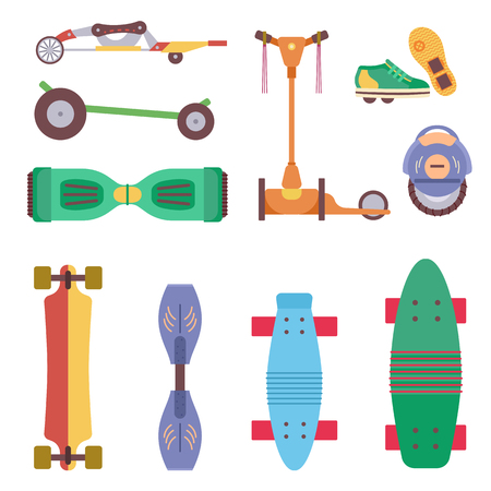 Illustration for Different urban park activity sport wheel devices, vehicles and park transport vector illustration set. Baby manual car, Solo Unicycle, Gyro pod skate, Scooter, Skate board, Ripstik, roller Skates. - Royalty Free Image