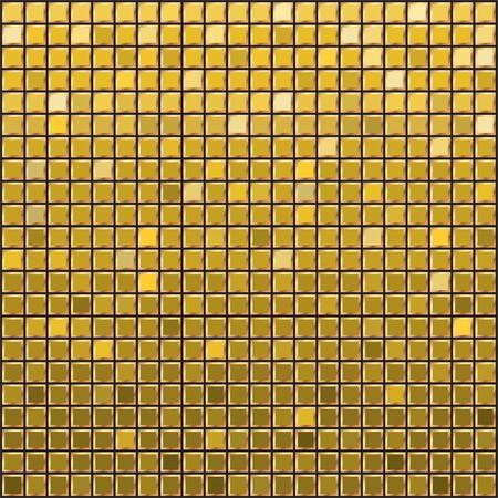 Illustration for Golden Mosaic ceramic tile design element in square. Abstract gold texture background. Design gold tile element. Background for banner, poster, leaflet, web, site. Vector illustration.  - Royalty Free Image