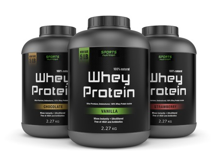 Sports nutrition, bodybuilding supplements: three jars of vanilla, chocolate and strawberry flavored whey protein isolated on white background.