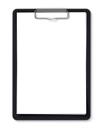 Foto de Black clipboard with blank sheets of paper isolated on white - Imagen libre de derechos