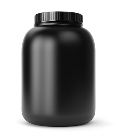 Bodybuilding supplements: can of protein or gainer powder isolated on white