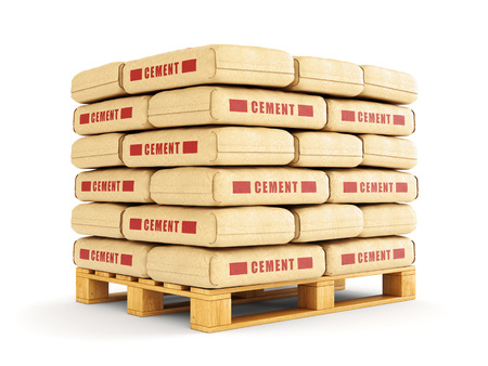 Photo pour Cement bags stack on wooden pallet. Paper sacks isolated on white background. - image libre de droit