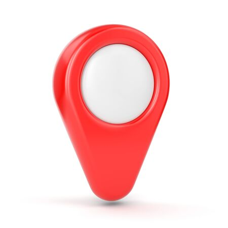 GPS map pointer. Red location symbol isolated on white background.
