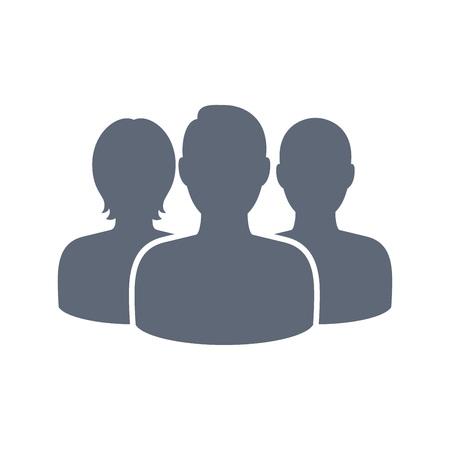 Ilustración de Three social network user profile pics icon. Vector button pictogram. Interface design element. - Imagen libre de derechos