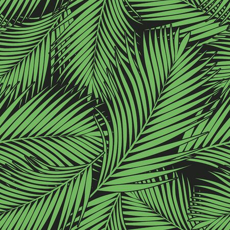 Illustration for Green tropical palm leaves texture on dark backdrop. Seamless vector background. Botanical illustration - Royalty Free Image