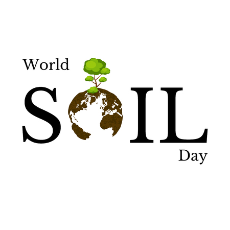 Illustration for World Soil Day. The concept of an environmental event. Text - the name of the event. Letter O - planet Earth, soil texture, tree. - Royalty Free Image