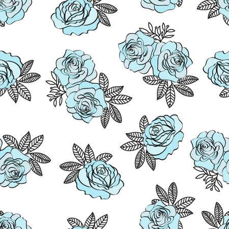 Illustration pour BLUE ROSE PATTERN Wedding Flower Seamless Pattern Vector Illustration for Print, Fabric and Digital Paper. - image libre de droit