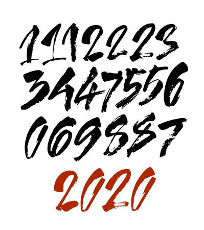 Illustration pour set of calligraphic acrylic or ink numbers. ABC for your design, brush lettering on a white background - image libre de droit