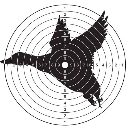 Illustration pour Target with a silhouette of a flying duck for shooting, plinking. Vector illustration for print - image libre de droit