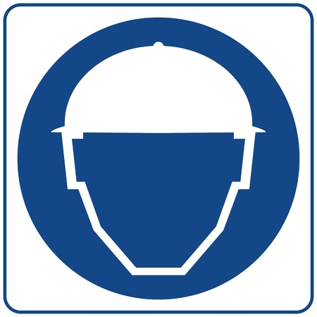 Illustration pour Safety sign. Isolated on white. Notice label. Safety Helmets Must Be Worn. - image libre de droit