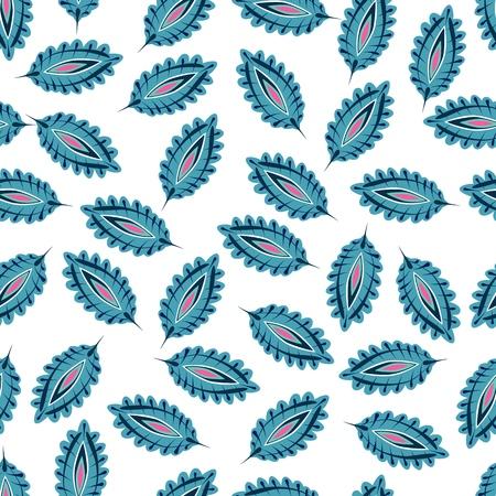Illustration pour Stylized colorful leaves seamless pattern. Folk boho universal texture. Hand drawn vector decorative floral ornamental background. - image libre de droit