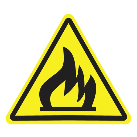 Illustration pour Fire warning sign in yellow triangle. Flammable, inflammable substances icon. - image libre de droit