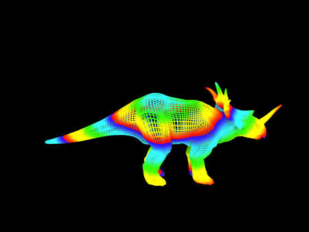 Photo pour 3d rendering of a colorful dino isolated on black background - image libre de droit