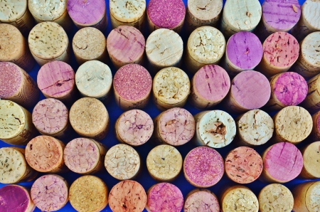Used wine corks arranged in