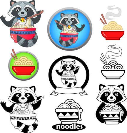 cartoon cute raccoon eating ramen noodles, funny illustration, mascot emblem