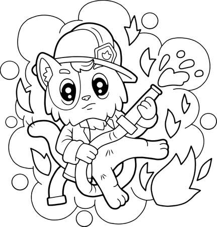 Illustration for cartoon cute cat firefighter, coloring book, funny illustration - Royalty Free Image