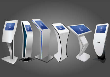 Illustration pour Six Promotional Interactive Information Kiosk, Advertising Display, Terminal Stand, Touch Screen Display. Mock Up Template. - image libre de droit