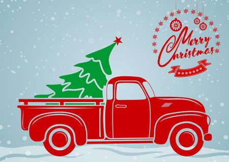 Ilustración de Christmas greeting card. Vintage pickup, truck with Christmas tree. Vector illustration. - Imagen libre de derechos