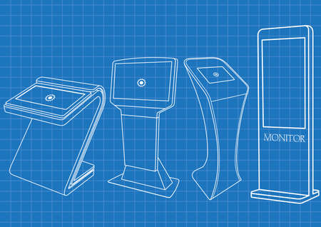 Illustration for Blueprint of four Promotional Interactive Information Kiosk, Advertising Display, Terminal Stand, Touch Screen Display. Mock Up Template. - Royalty Free Image