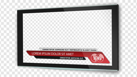 Illustration pour TV realistic flat screen lcd, plasma with news bars for Video headline title or lower third. Isolated on transparent background. Mock Up Template. - image libre de droit