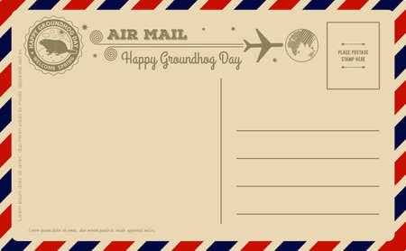 Vintage Groundhog Day Postcard. Vector illustration