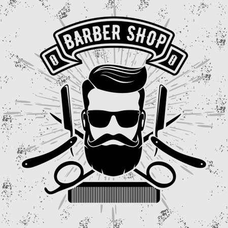 Photo pour Barbershop vintage label, badge, or emblem. Vector illustration. - image libre de droit