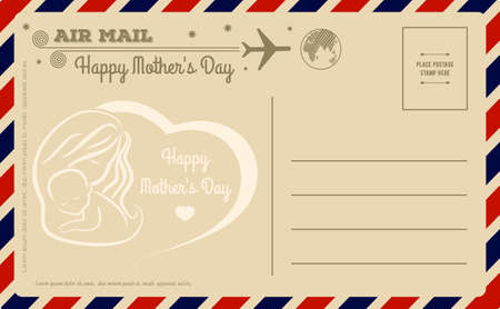 Vintage Happy Mother\'s Day Postcard. Vector illustration.