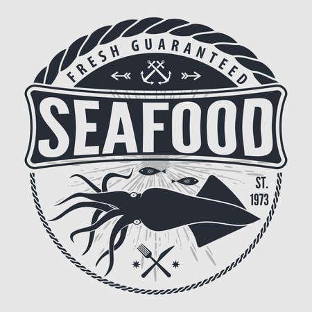 Illustration pour Seafood label, badge, emblem or logo for seafood restaurant, menu design element. Vector illustration - image libre de droit