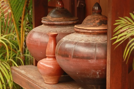 Antique earthenware jar from Thailand, Thai people used to contain some water