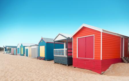 Foto für Beautiful Bathing houses at sandy beach at Brighton beach in Melbourne, Australia. - Lizenzfreies Bild